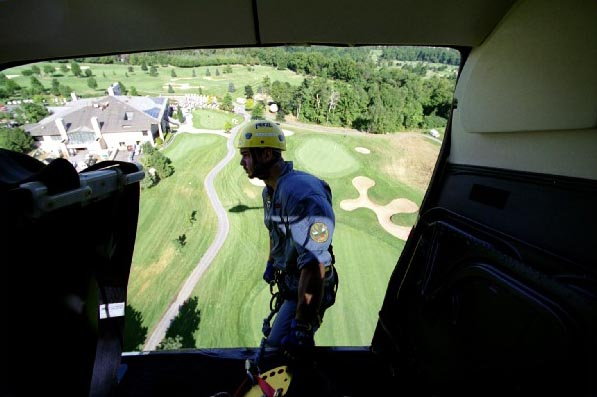 Helicotper flying over Lionhead Golf Course