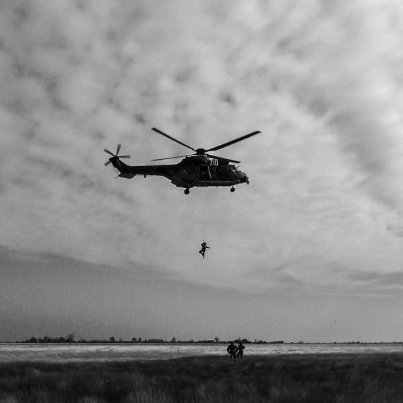 Vertical rescue from helicopter