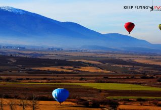 Flying with balloon above Bansko
