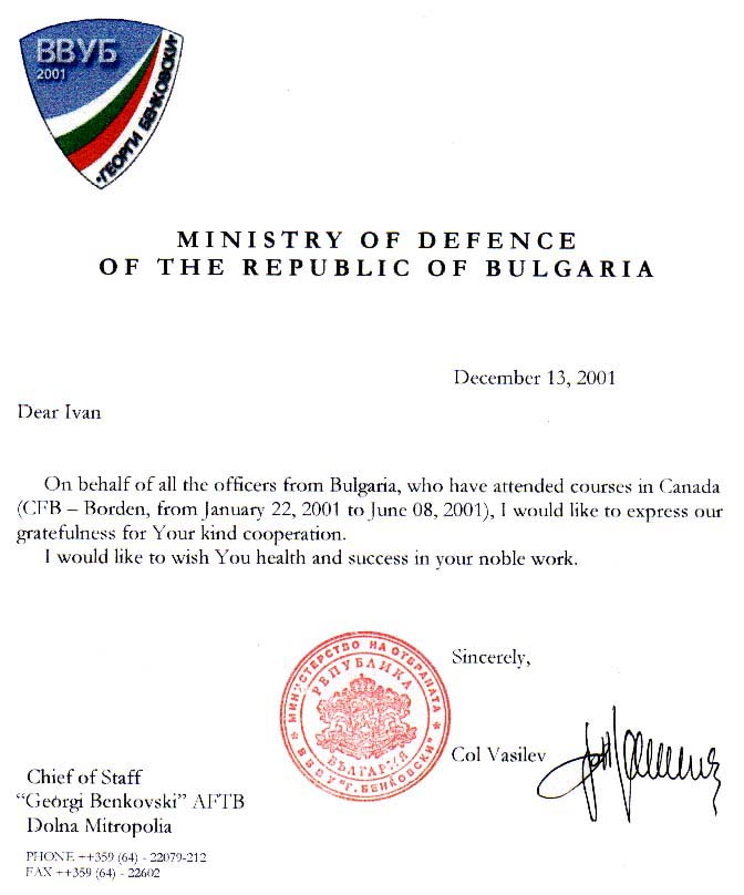 Letter of appreciation - Chief of Staff