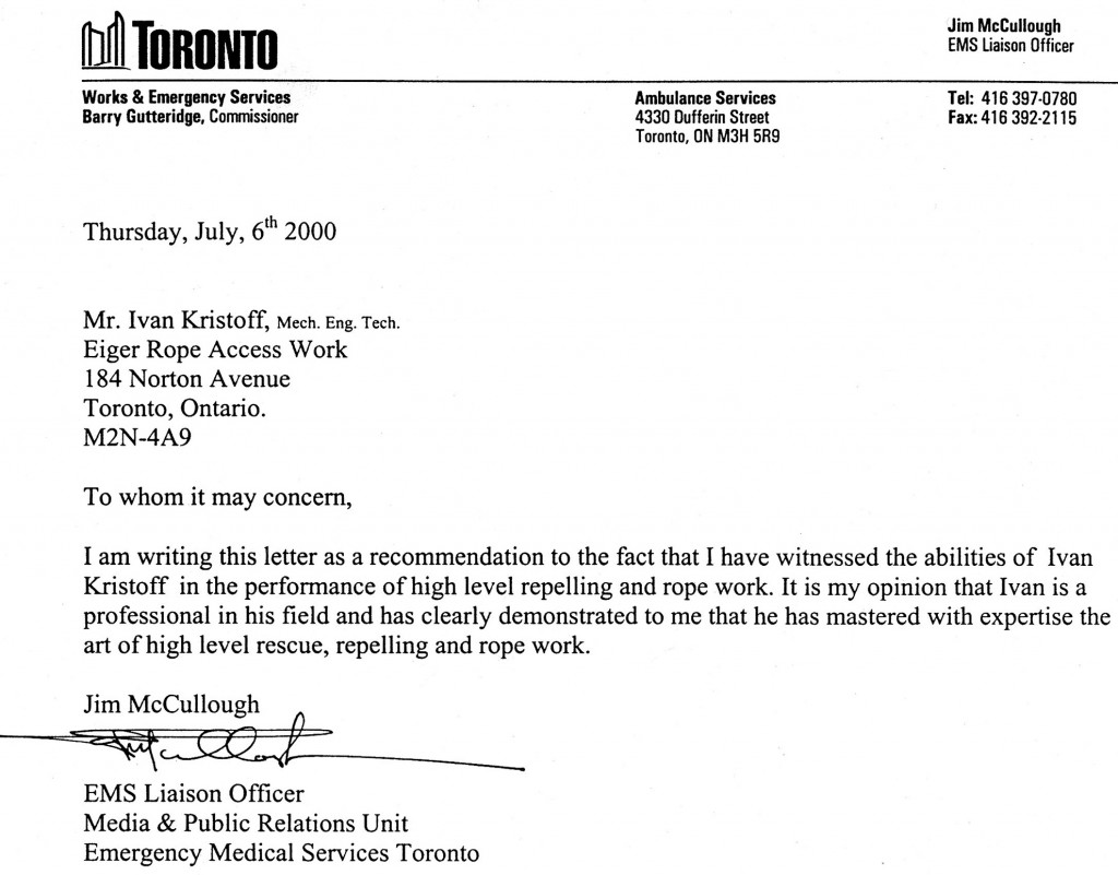 Letters of appreciation from Toronto EMS